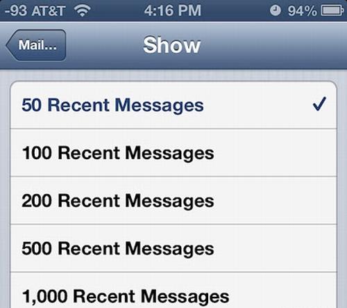 iOS Mail Inbox