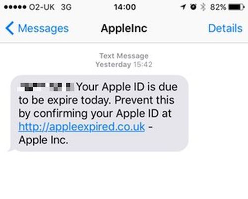 Apple Phishing Text Message Apple ID Expiration