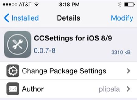 CCSettings iOS 9 jailbreak tweak