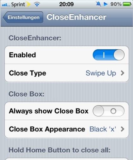 CloseEnhancer Cydia App