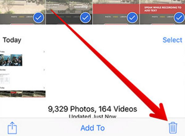 Remove Images to clear up Space on iPhone