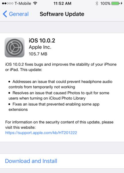 Download iOS 10.0.2 ipsw Links