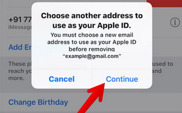Continue to Add new Apple ID Email address