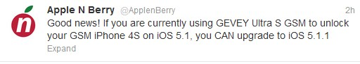Gevey Ultra S To Unlock iPhone 4S iOS 5.1.1 1