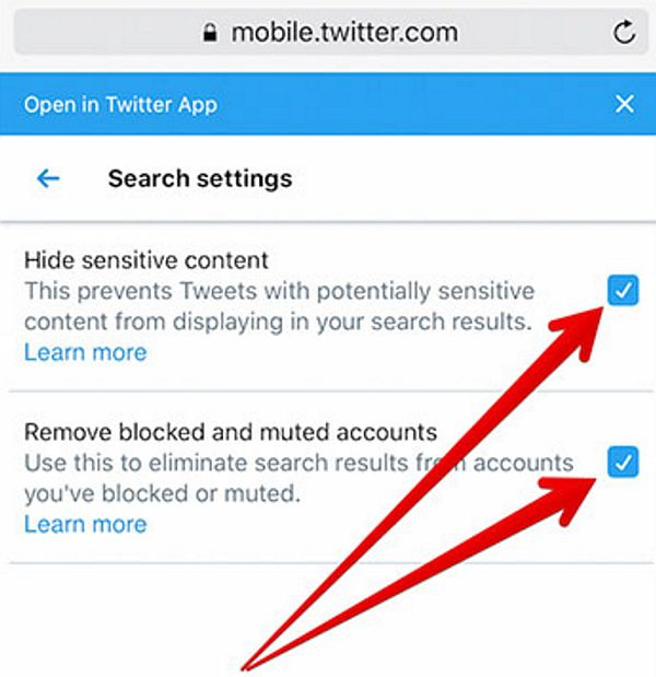 Activate twitter safe search mode on iPhone