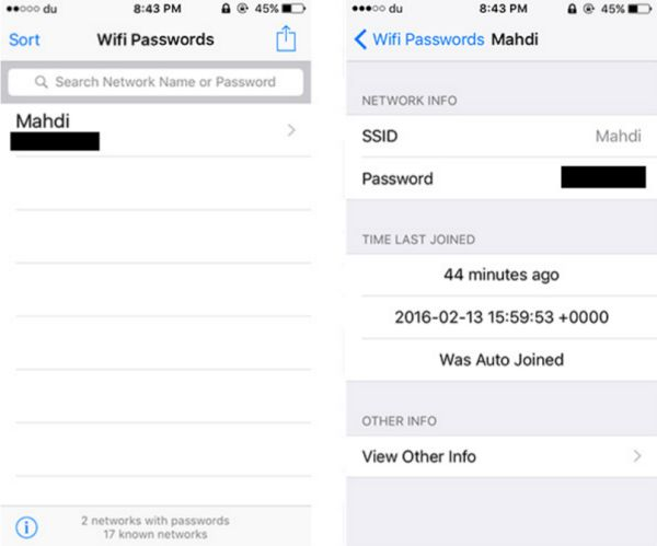 How to Find Password for Saved WiFi Network iPhone iOS 9 Jailbreak Tweak App