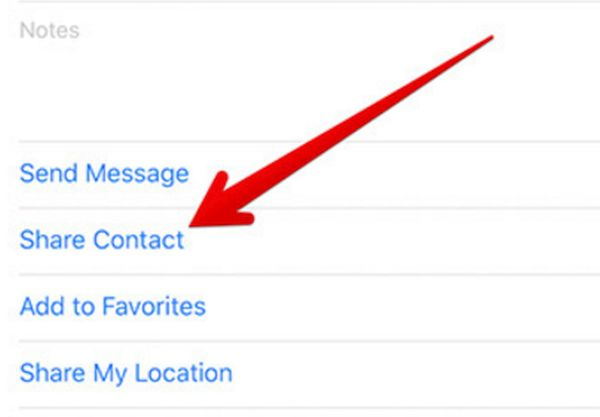Share Contacts on iPhone