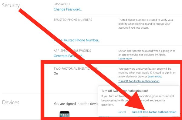 Disable 2 Factor Authentication on iPhone or Mac