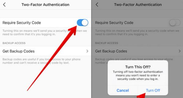 Disable Two-Factor Authentication on iPhone Instagram