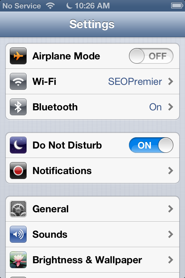 configure Do Not Disturb iOS 6