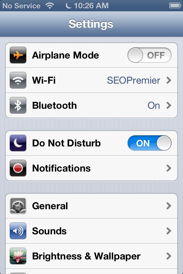 configure Do Not Disturb iOS 6
