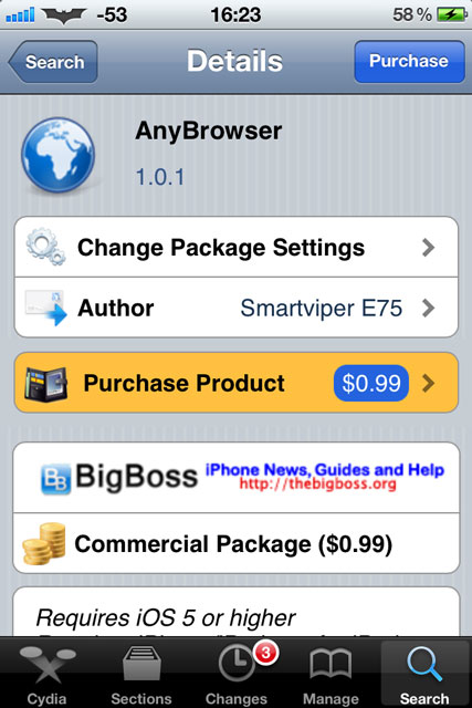 AnyBrowser Cydia Tweak