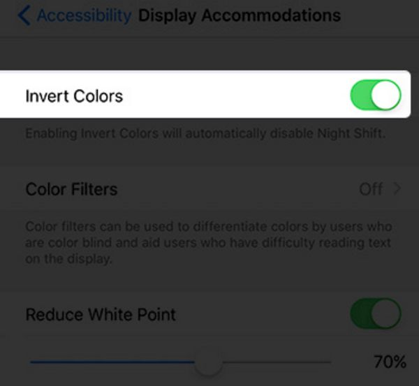 Enable Invert Colors on iOS 10
