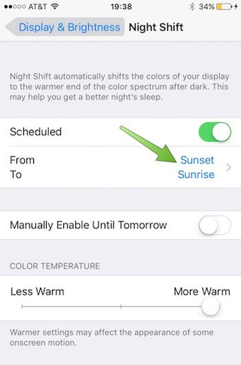 Night Shift iOS 9 iPhone Enable Display Automatically