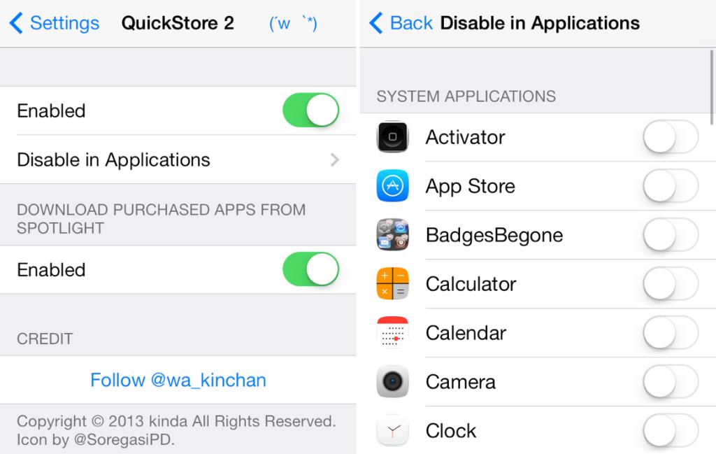 QuickStore 2 iOS 7 Cydia Tweak for Fast App Store Links