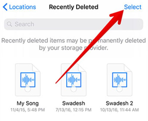 Choose Removed Files iOS 11