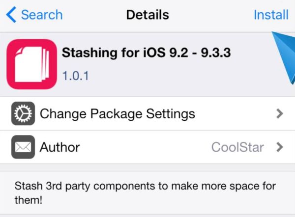 Stashing for iOS 9.2 – 9.3.3 Cydia Package Download