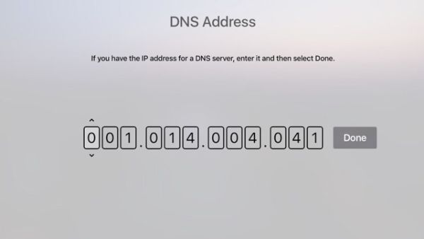 Step 7 Change Apple TV DNS Server Settings
