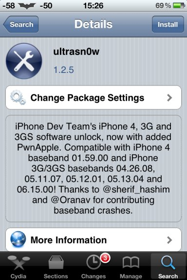 Unlock iPhone 3G ultrasn0w 1