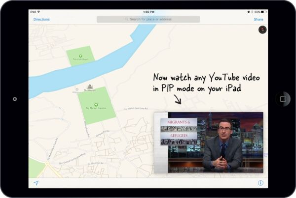 Watch YouTube Videos on iPad iOS 9 Picture in Picture Mode