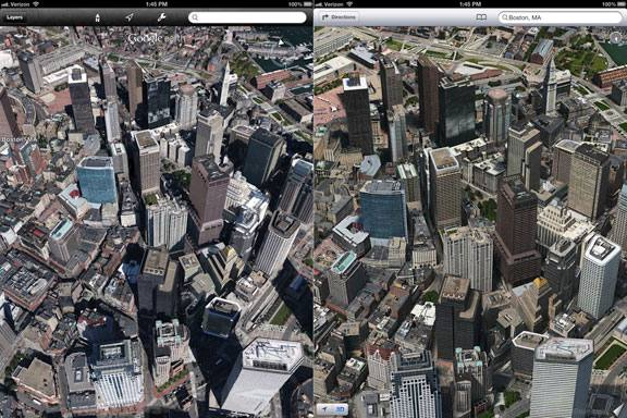 apple 3d maps vs google