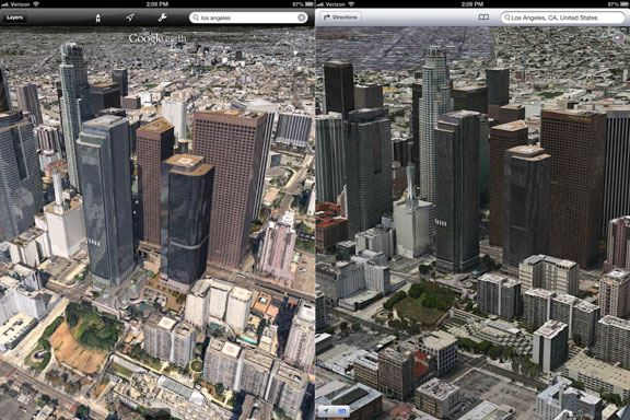 apple maps vs google 3d