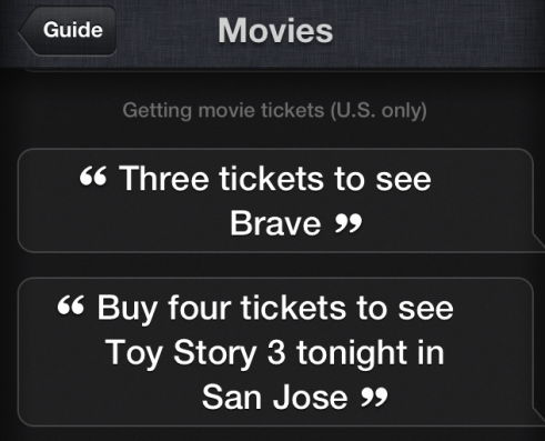 Book Movie Tickets via Siri