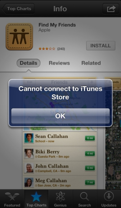 Cannot Connect to iTunes Store Message
