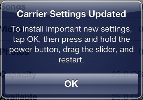 Carrier Settings Screen