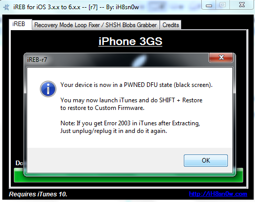 how to fix dfu mode iphone 3gs
