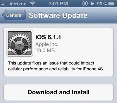 Apple Rushes with iOS 6.1.1 Release for iPhone 4S