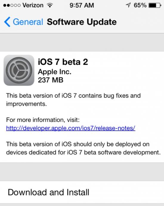iOS 7 Beta 2 Release