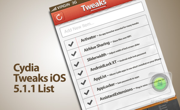 iOS 5.1.1 supported Cydia apps and tweaks