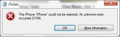 fix itunes error 3194