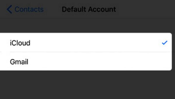 Default Account iCloud for iPhone with Lost Contacts