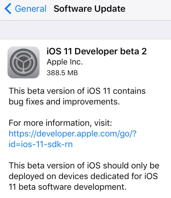 Download iOS 11 Beta 2