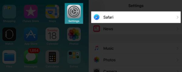 Setttings for Safari browser