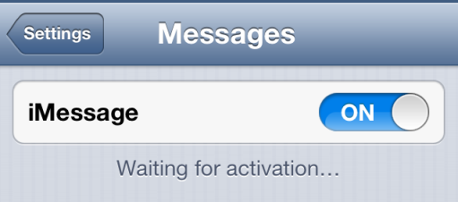 iOS 6 iMessage fix waiting for activation