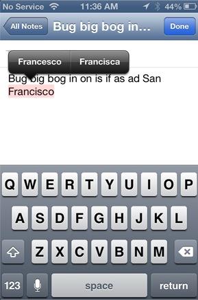 iOS 7 auto correction