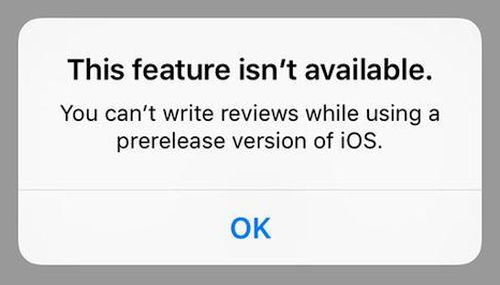 iOS 9 Beta App Review Option Not Available