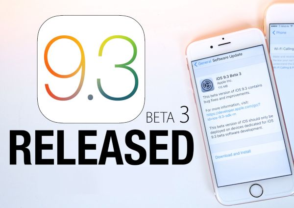 iOS 9.3 Beta 3 Update