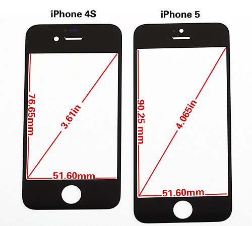 iPhone 5 vs iPhone 4S front panel