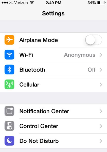 iPhone 7 Settings Bluetooth Off