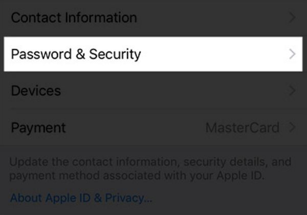iPhone Settings - Password & Security