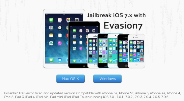 Jailbreak iOS 7.0.6 via Evasi0n7