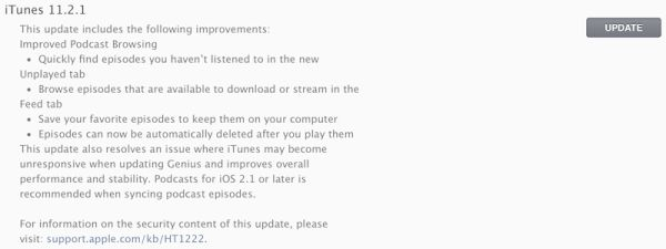 Apple Presents iTunes Update 11.2.1 with Bug Fixes