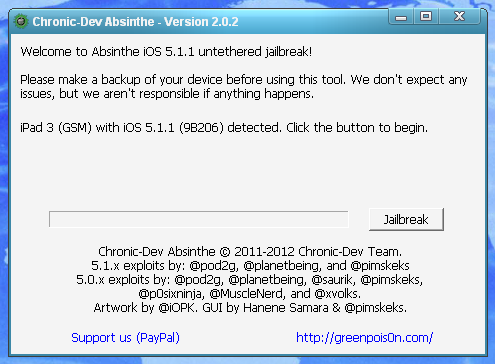 jailbreak iOS 5.1.1 on iPad 3 with Absinthe 2.0.2