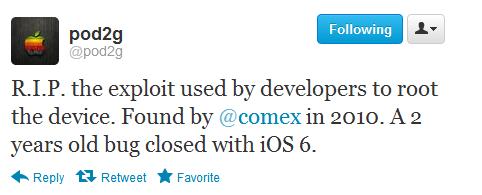 apple closed comex root exploit in iOS 6