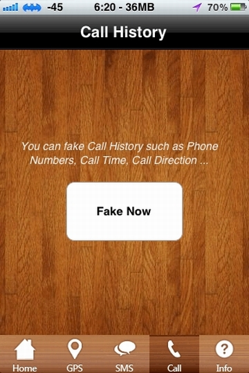 Fake iPhone Call History