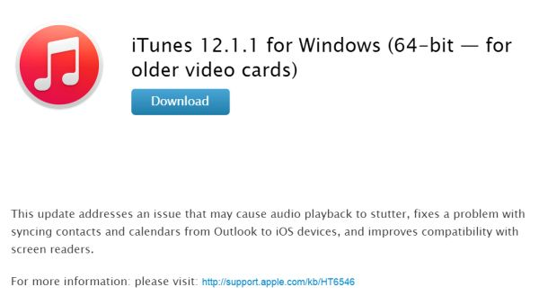 iTunes 12.1.1 Download Windows Older Video Cards